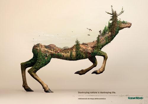 Campagne de sensibilisation sur la destruction de l'habitat des animaux sauvages. Ces affiches ont été créés par les studios Illusion et Analog/Digital - 1/2