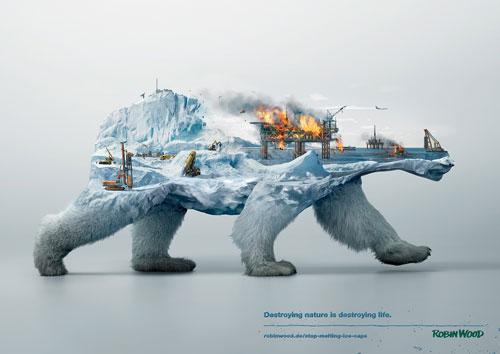 Campagne de sensibilisation sur la destruction de l'habitat des animaux sauvages. Ces affiches ont été créées par les studios Illusion et Analog/Digital - 2/2 (Parce que L'Aetherium aime les ours polaires)