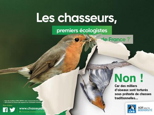 Campagne de la Ligue de Protection des Oiseaux (LPO) contre la chasse à la glu.