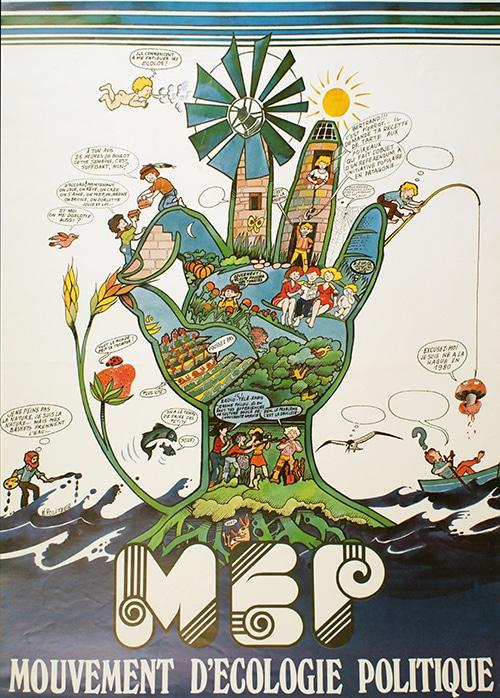 Affiche de 1979 pour le Mouvement d'Ecologie Politique, qui fédère de nombreuses associations environnementales.